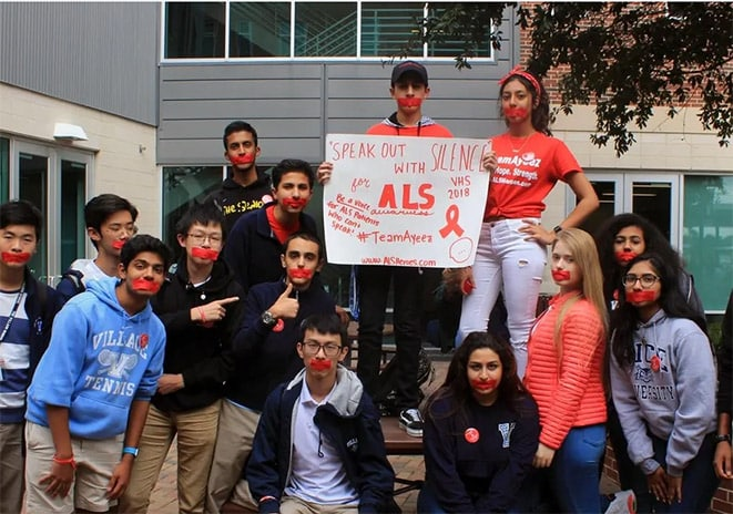 image of teens during an ALS Heroes awareness event