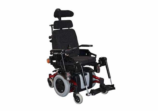 image of an ALS patient in motorized wheelchair